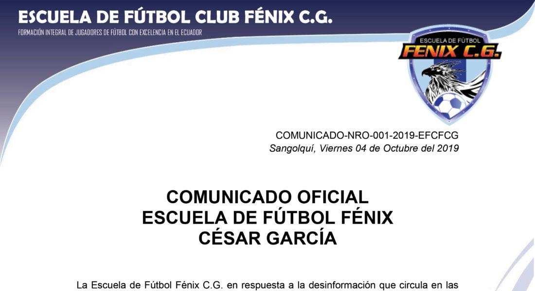 Comunicado Nro. 001-2019-EFCFCG